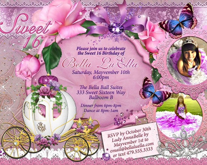 Sweet 16, Sweet 16 invitations, CinderBella Carriage Invitation, Princess Party, Princess Carriage Invitation, Mis Quince Anos