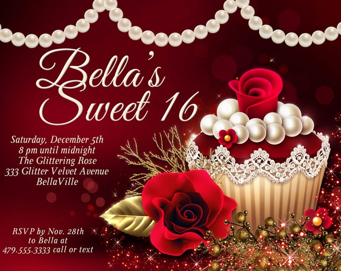 Red Rose Cupcake Party, Christmas Sweet 16, Quinceanera, Bat Mitzvah, Birthday Party Invitations