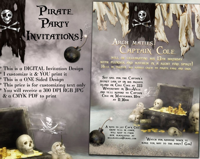 Pirate Party, Pirate Birthday Party Invitation, High Seas Birthday Party