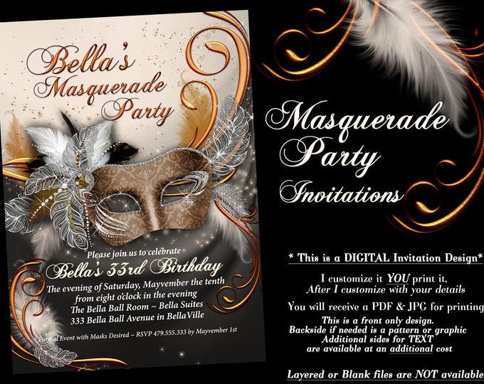 Masquerade Party Invitation, Mardi Gras Party, Party Invitations, Masquerade Invitations, Gold Black White Masquerade