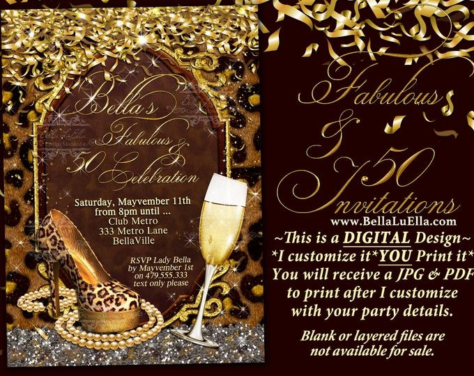 Fabulous and Fifty Party Invitations, Diva Birthday, Birthday Invitations, Fabulous and Forty