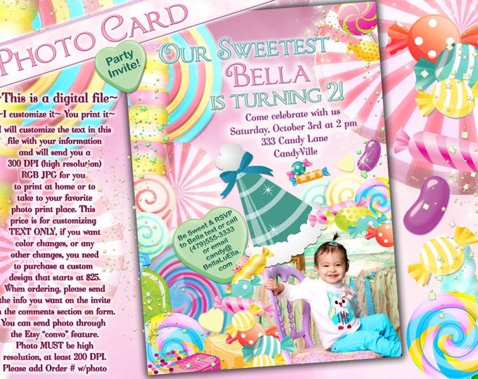 Photo Card, Candy Land Photo Invitation, Birthday Party Invitations, CandyLand Invitations, Candy Photo Card