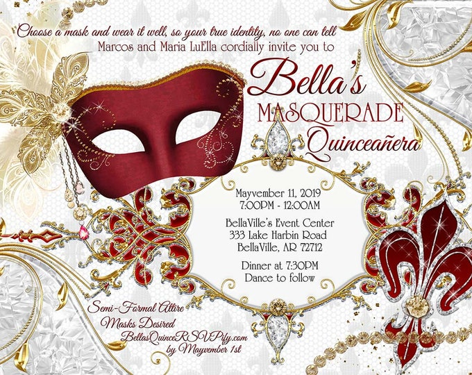 Masquerade Party Invitation, Quinceanera, Sweet 16 Masquerade, Masquerade Ball, Red White Gold Mask, Mis Quince Anos, Birthday Ball