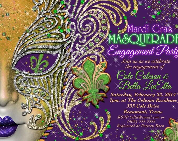 Quinceanera Masquerade Party, Birthday Masquerade Invitation, Purple Gold Mardi Gras Party, Mis Quince Anos, Mardi Gras Shower Invitation