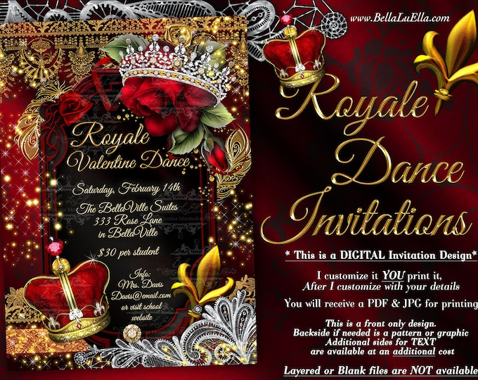 Royal Dance Valentine Party Invitations, Valentines Dance, Father Daughter Valentine School Dance Invitation, Royalty Party Invitation