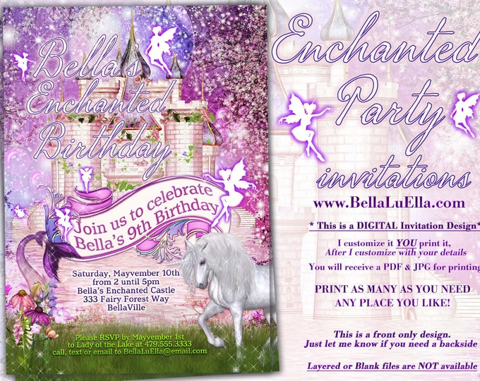 Mermaid Unicorn Fairy Castle Party Invitation, Fairy Princess Party Invitation, Birthday Party Invitations, Fairy Princess Invitations