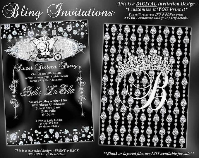CinderBella Diamond Party Invitations, Diamond Quince, Diamond Sweet 16 Party,Mis Quince Años