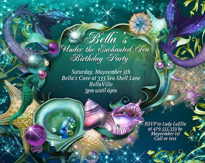 Mermaid, Mermaid Invitations, Mermaid Party, Under the Sea Invitations, Enchanted Seas