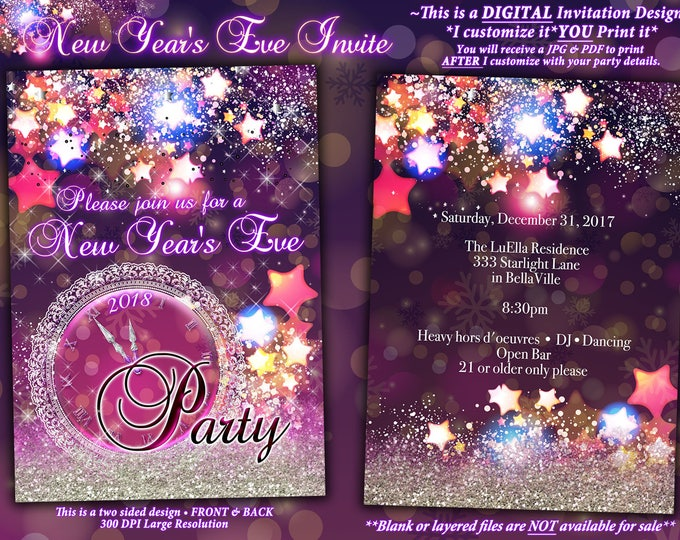 New Years Eve Party Invitation, Sparkling New Years Eve Party