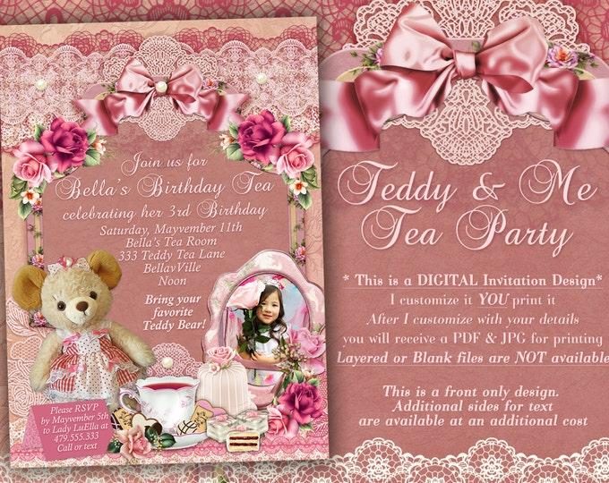 Teddy Bear Tea Party Invitation, Photo Teddy Tea Party, Teddy and Me Tea Party