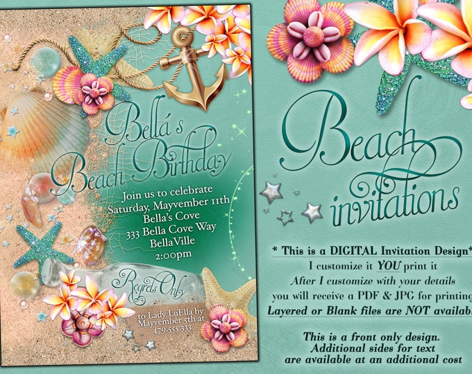 Summer Party, Beach Party Invitation, Luau Invitations, Nautical Beach Party
