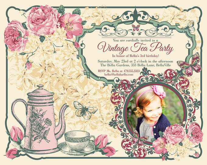 Vintage Tea Party Invitation Photo Card, Photo Card, Tea Party Invitations, Party Invitations