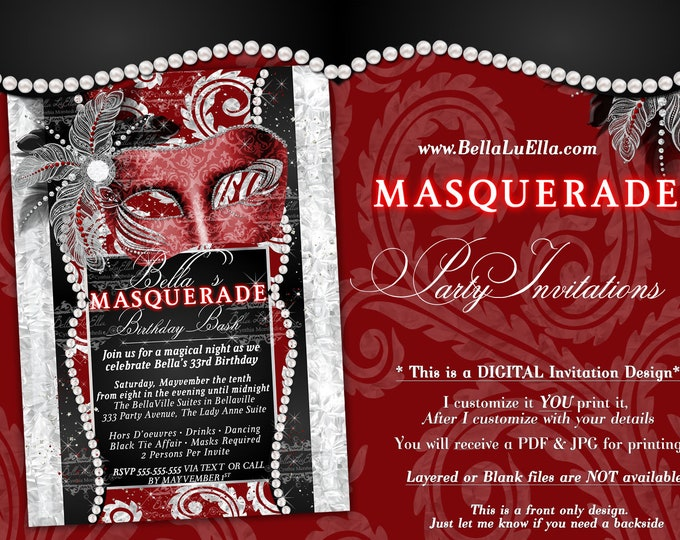 Masquerade Party Invitation, Mardi Gras Party, Party Invitations, Masquerade Invitations, Bling Pearl Masquerade, Red Black Silver