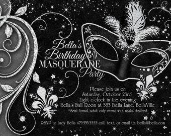 Black White Masquerade Ball Invitation Mardi Gras Party Quinceanera