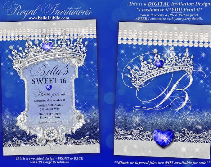 Royal Diamond  Pearl Invitation, Sweet 16 Invitation, Quinceanera, Bling Party Invitations, Blue Diamond Sparkle Bling, Diamond Mis Quince