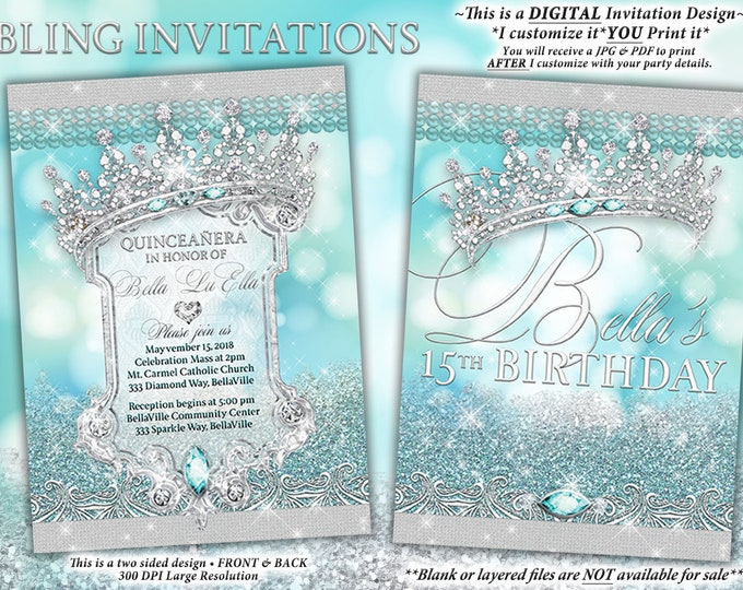Diamond  Pearl Invitation, Sweet 16 Invitation, Quinceanera, Bling Party Invitations, Blue Diamond Sparkle Bling Party, Diamond Mis Quince