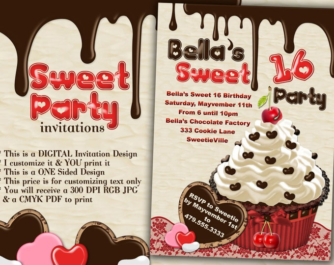 Sweet 16 Party, Cupcake Invitations, Valentine Party Invitations, Candy Party, Chocolate Cupcake Party, Candy Theme Party