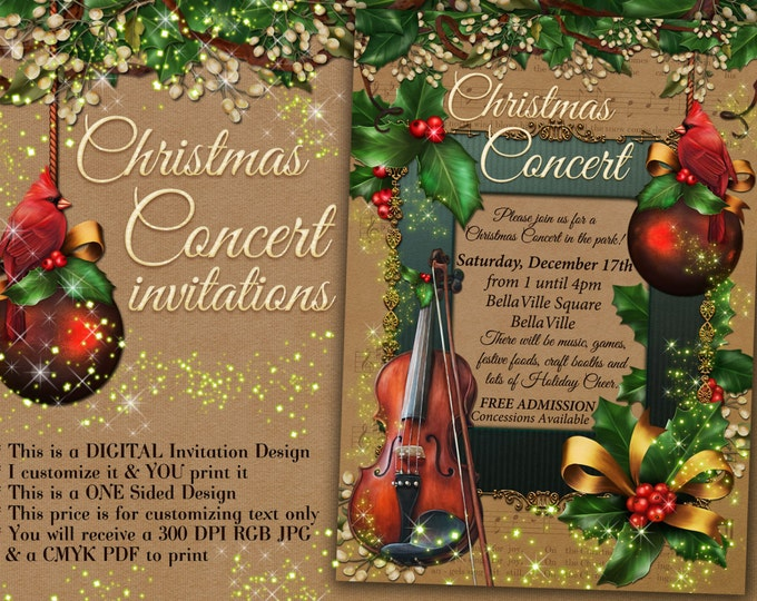 Christmas Concert Invitation, Holiday Music Program, Christmas Program, Music Concert Invitations
