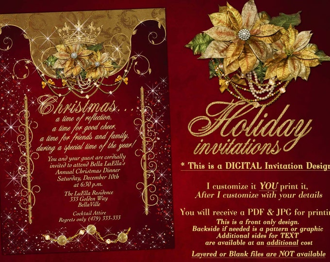 Holiday Party, Christmas Party Invitations, Holiday Dinner Party, Christmas Dinner Card, Holiday Card, Christmas Party