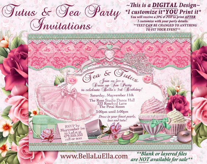 Tutus and Tea Party, Tea Party Invitation, Tutu and Tea Invitations, Tutu Party, Girls Dress Up Party, Dance Party, Ballet Birthday, Pink