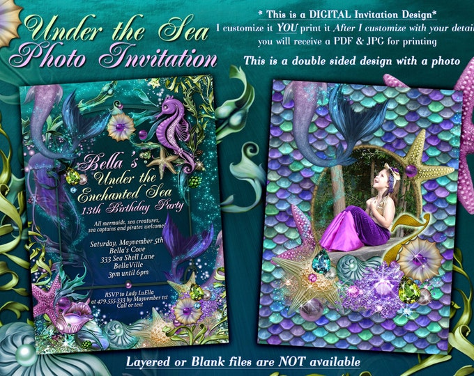 Photo Mermaid Invitation, Mermaid Invitations, Under the Sea Invitations, Enchanted Seas