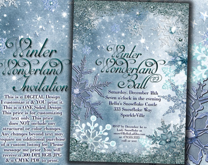 Frozen Winter Wonderland Party, Winter Snowflake Invitation, Winter Sweet 16, Snow Ball, Mis Quince Anos