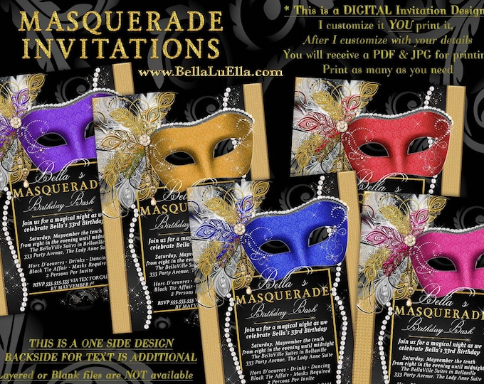 Masquerade Party Invitation, Mardi Gras Party, Party Invitations, Masquerade Invitations, Mis Quince Anos, Sweet 16 Masquerade, Mardi Gras