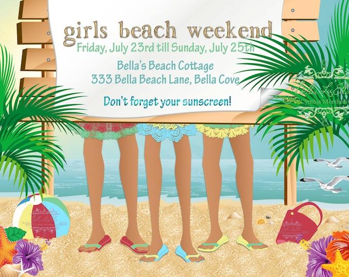 Girls Beach Weekend Invitation, Summer Party Invitations