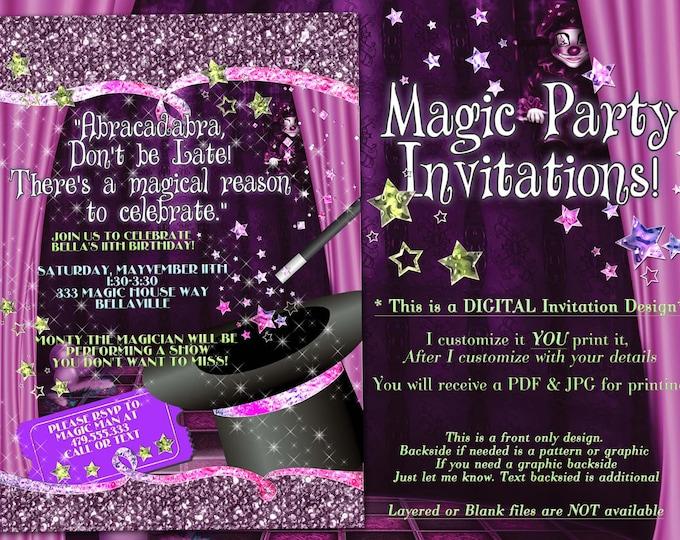 Magic Show Invitation, Magic Show Party, Party Invitations, Birthday Party Invitations, Magic Birthday