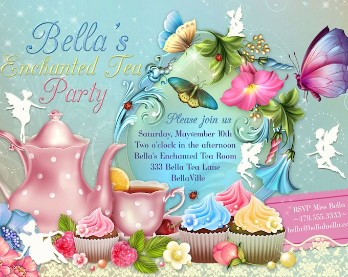 Fairy Tea Party Invitation, Birthday Tea Party, Tea Party, Garden Tea Party, Fairy Invitations, Tea Party