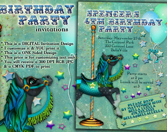 Carousel Horse Birthday Invitations, Birthday Party Invitations, Carousel Party