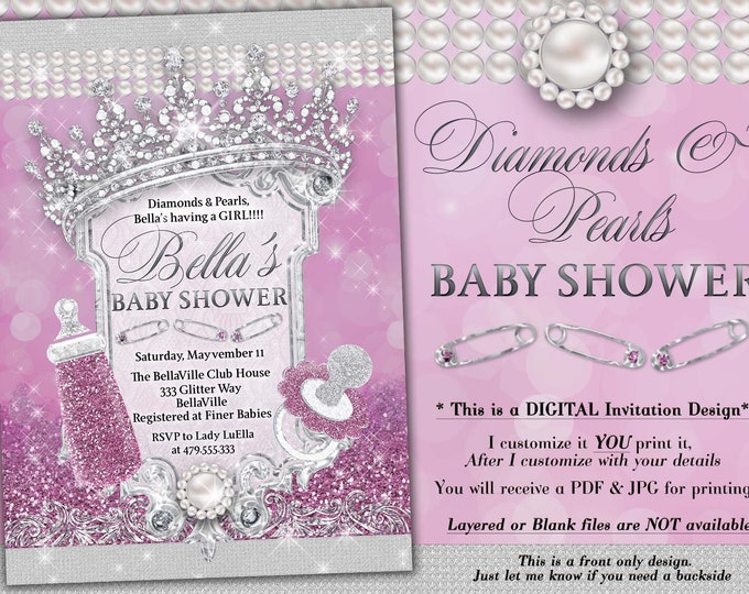 Diamond and Pearls Baby Shower, Baby Shower Bling, Glitter Princess Baby, Baby Showers, Purple Diamond Glitter Baby Shower