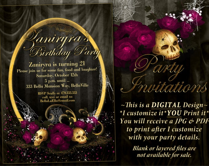 Gothic Party Invites, Halloween Invitations, Goth Party Invitations