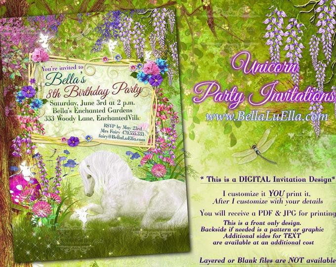 Fairy Forest Unicorn Birthday Party Invitation, Woodland Fairy Birthday Invitations, Fairy Unicorn Party, Unicorn Fairy Invitations