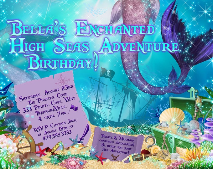 Mermaid and Pirate Party, Mermaid  Pirate Invitations, Mermaid Party, Under the Sea Invitations, Enchanted Seas