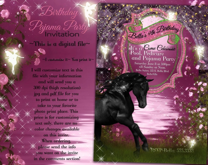 Horse Card, Birthday Party Invitation, Birthday Party