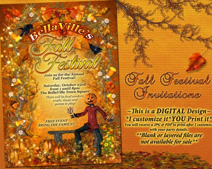 Autumn Birthday Invitation, Fall Party Invitation, Fall Festival Autumn Garden Party, Fall Pumpkin Invitation