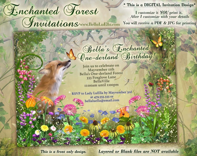 Enchanted Fox Fairy Wood Birthday Party, Magical Party Invitations, Enchanted Wood Birthday, Flowers Fox Woodland One-derland Forest
