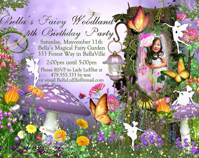 Photo Fairy Woodland Party, Photo Birthday Invitation, Fairy Woodland Party, Mushrooms Fairies Woodland Forest, Photo Fairy Invitation