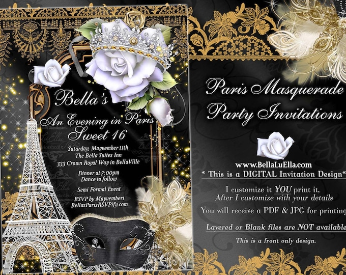 Paris Masquerade Party Invitation, Mardi Gras Party, Mis Quince Anos Mascarda, Quinceanera, Sweet 16 Ball, Paris Quince, White Gold Black
