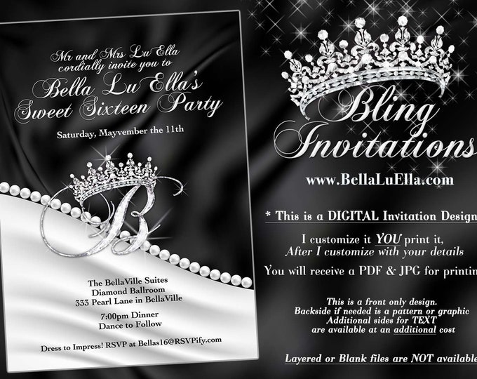 Diamond and Pearl Invitation, Sweet 16 Invitation, Quinceanera, Bling Party Invitations, Princess Tiara Bling Diamond Pearl Invitation
