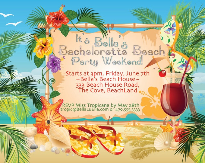 Beach Party Invitation, Luau Party, Summer Weekend Invitations, Luau Invitations, Bachelorette Beach Weekend