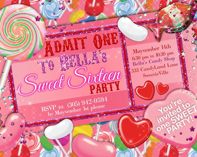 Glitter Candy Land Party, Candy Party Invitation, Glitter Sweet 16 Party Invitation, Candy Ticket Invitation, Candy Quinceanera Party