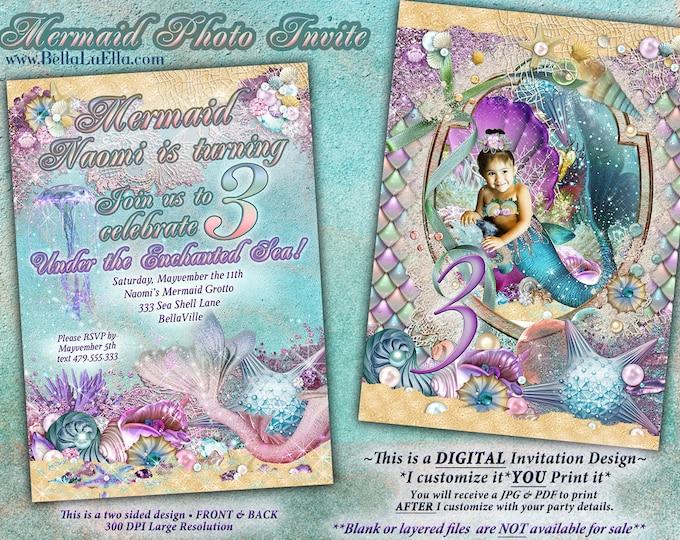 Photo Mermaid Invitation, Mermaid Invitations, Under the Sea Invitations, Enchanted Seas, Pool Party, Under the Sea, Mermaid Birthday