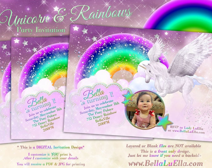 Unicorn Photo Card Invitation, Photo Card, Unicorn Party, Unicorn Birthday, Rainbow Unicorn Photo Invitation, ONEderland Party