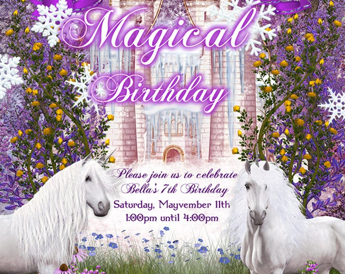 Unicorn Castle Party, Fantasy Invitations, Unicorn Ice Castle Party