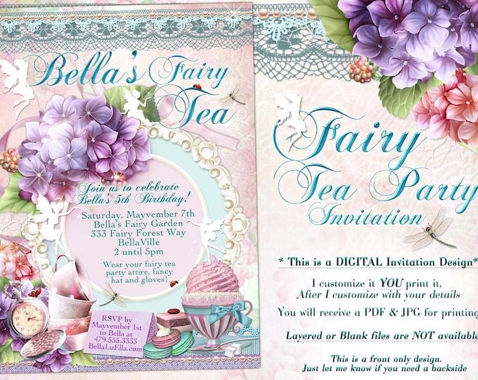 Fairy Tea Party Invitation, Hydrangea Birthday Tea Party, Girls Tea Party, Garden Tea Party, Fairy Invitations, Tea Party
