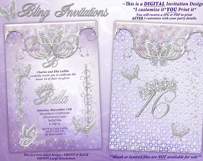 Butterfly Princess Party Invitation, Butterfly Tiara Sweet 16, Mis Quince Anos, Lavender Bling Butterfly, Party Invitations
