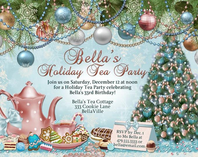 Victorian Christmas Tea Party Invitation, Holiday Tea Party, Tea Party, Christmas Tea Invitations
