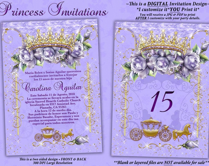 Lavender Tiara Gold Carriage Invitation, Quinceanera Invitation, Birthday Party Invitations, Sweet 16 Party, Mis Quince Años